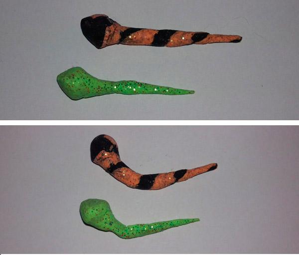 PowerBait formet som haletudse. Nederst med knæk på halen</em>